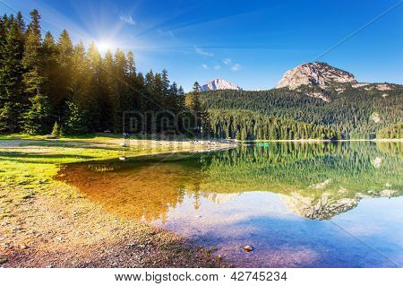 Black lake in Durmitor national park in Montenegro, Europe. Beauty world.