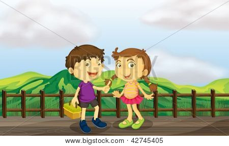 Illustration of a young girl and a young boy at the wooden bridge