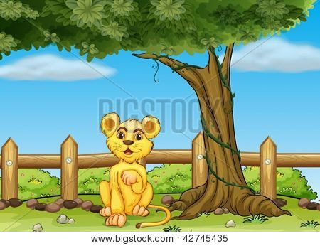 Illustration of a young tiger under the tree