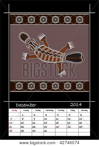 A Calender Based On Aboriginal Style Of Dot Painting Depicting Platypus
