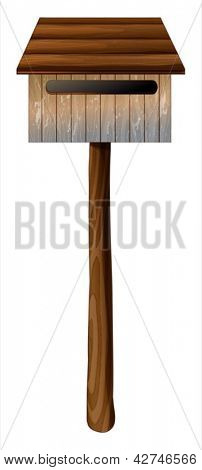 Illustration of a wooden mailbox with a post on a white background