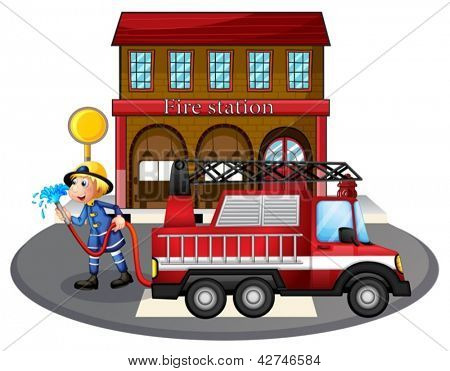 Illustration of a fireman holding a hose near a firetruck on a white background