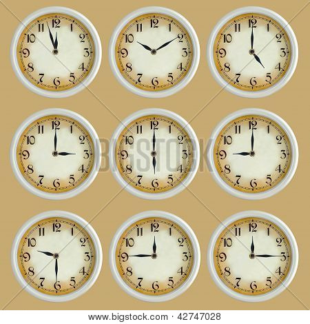 Vintage Retro Clock Set Isolated
