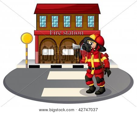 Illustration of a fireman in front of the fire station on a white background
