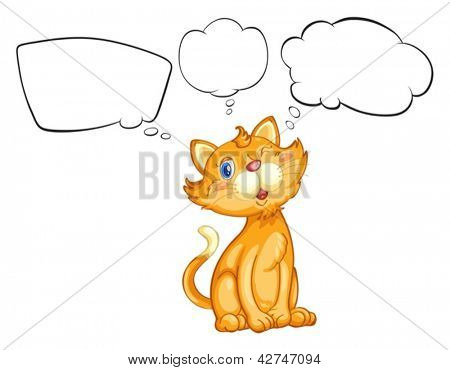 Illustration of a cat blinking his eye on a white background