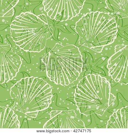 Seamless background, outline seashells