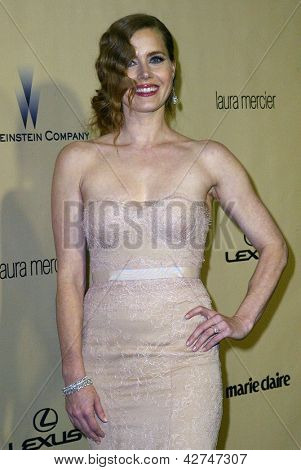 BEVERLY HILLS, CA - JAN. 13: Amy Adams arrives at the Weinstein Company's 2013 Golden Globes After Party on Sunday, January 13, 2013 at the Beverly Hilton Hotel in Beverly Hills, CA.