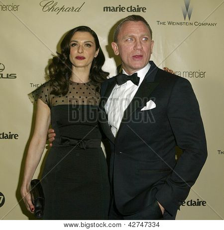 BEVERLY HILLS, CA - JAN. 13: Rachel Weisz & Daniel Craig arrive at the Weinstein Company's 2013 Golden Globes After Party on Sunday, January 13, 2013 at the Beverly Hilton Hotel in Beverly Hills, CA.