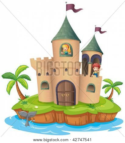 Illustration of a castle in an island on a white background