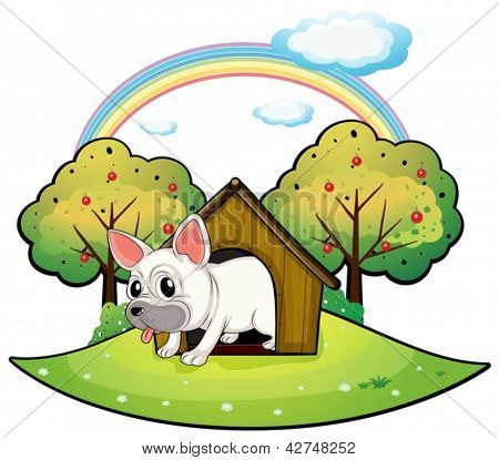 Illustration of a dog inside the dog house with an apple tree at the back on a white background