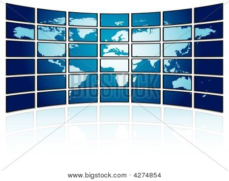 Tv Plasma Wall With World Map