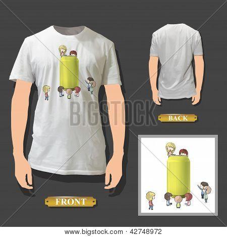 Crianças ao redor da lata imprimido na camisa branca. Vetor Design.