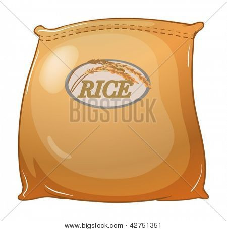 Illustration of a sack of rice on a white background