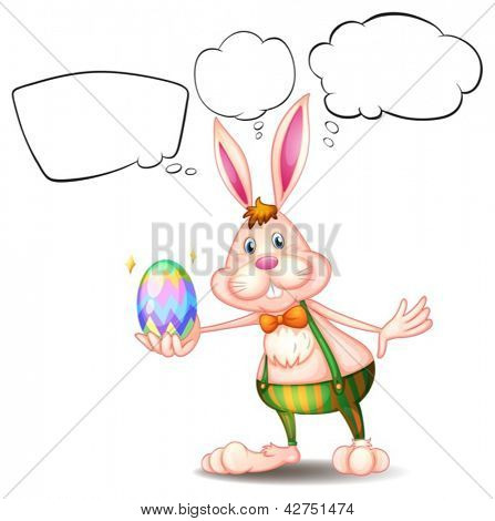 Illustration of a bunny holding an egg with empty callouts on a white background