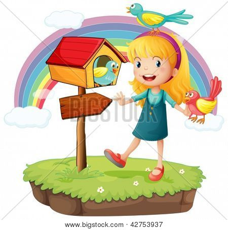 Illustration of a girl beside a wooden mailbox with three birds on a white background