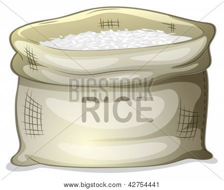 Illustration of a sack of white rice on a white background