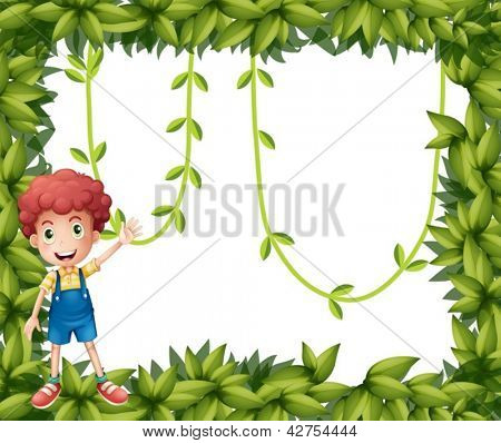 Illustration of a boy showing the leafy frame with vine plants