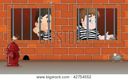 Illustration of the two boys inside the jail