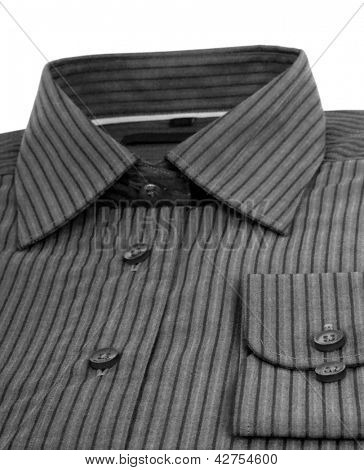 black pinstriped dress shirt over a white background