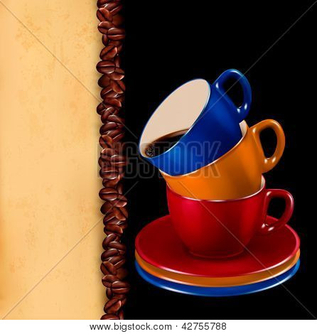 Background with colorful cups of coffee and old paper.  Raster version of vector.