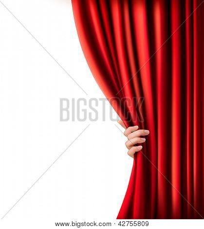 Background with red velvet curtain and hand. Raster version of vector.