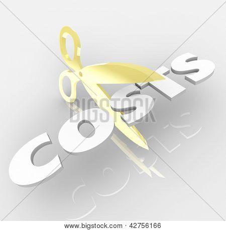 La palabra cuesta ser cortado por un par de tijeras de oro para simbolizar la corte costo y ahorrar dinero por re