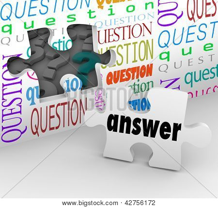 The word Answer on a puzzle piece to symbolize the quest for understanding in answering questions and concerns