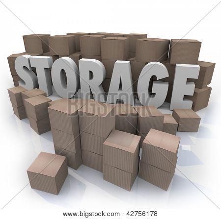 A palavra armazenamento no meio de um estoque de muitas pilhas de caixas de papelão para representar a armazenar