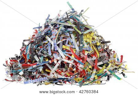 Small Hill of Paper Shreds Isolated on White Background