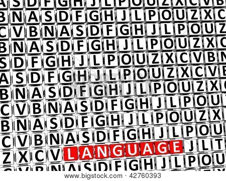 3D Word Language Inside Different Letters Blocks