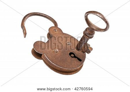 Key and lock (with clipping path)