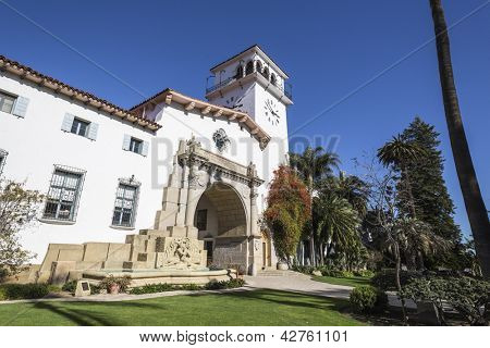 Historic courthouse entrance in Santa Barbara, California.
