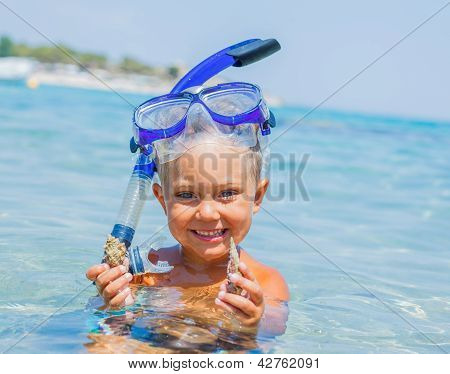 Boy swimming in sea