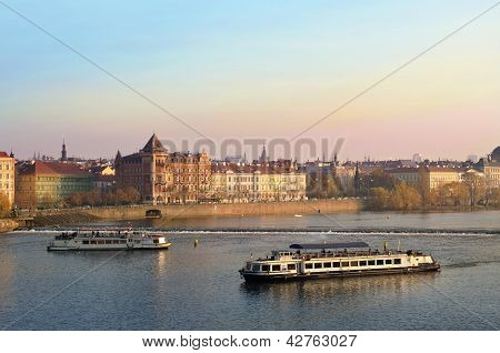 Tourists Float On A Boats On The Vltava River