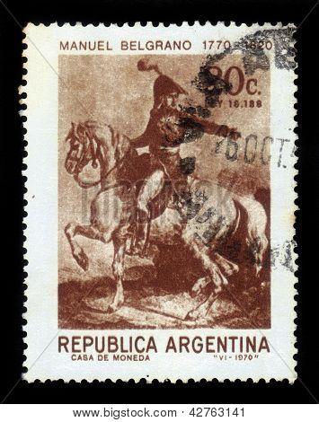 General Manuel Belgrano, Portrait In Uniform On Horseback