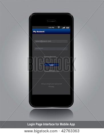Interface da página de login para formato de vetor editável mobile app. em carteira.