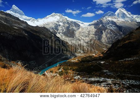 Alpine landscape in Cordiliera Blanca, Peru, South Amrica