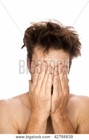 Discouragement - Caucasian man isolated on white