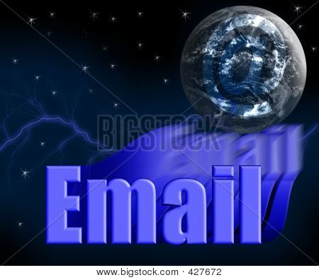 Email 3d With Earth Globe And Stars