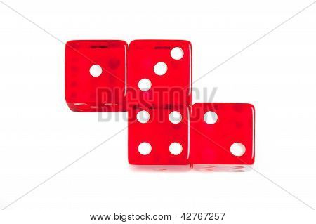 Top Of View Of Four Red Dice