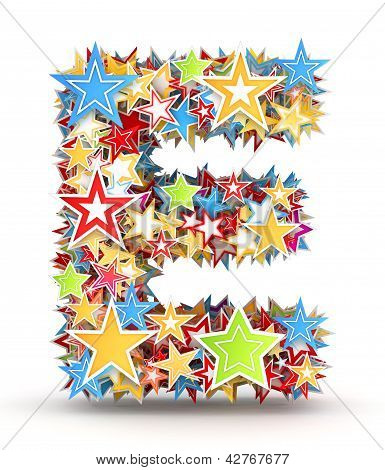 Letter E from colored stars