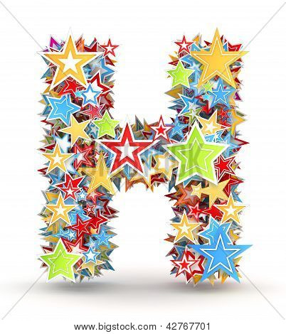 Letter H from colored stars