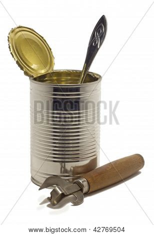 Open Empty Tin With A Spoon And An Opener
