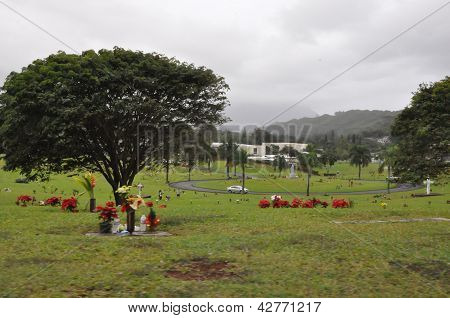 Valley of the Temples Memorial Park in Oahu, Hawaii