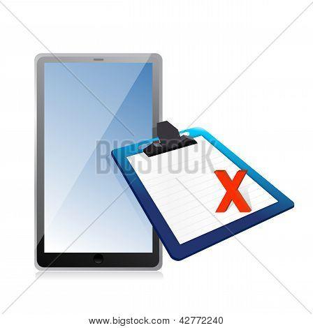 Tablet und Zwischenablage mit xmark