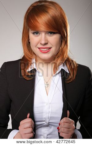 Beautiful Young Business Woman Standing