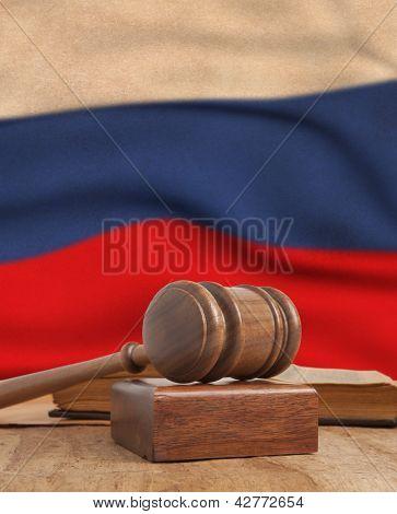 Wooden gavel and vintage France flag
