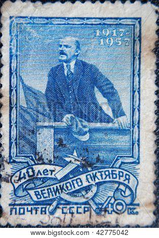 RUSSIA - CIRCA 1957: portrait of Socialist leader Lenin (Ulyanov) making speech in USSR