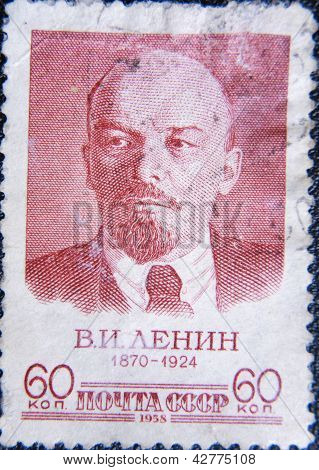 RUSSIA - CIRCA 1955: stamp printed by USSR in 1955 shows portrait of socialist lider Lenin