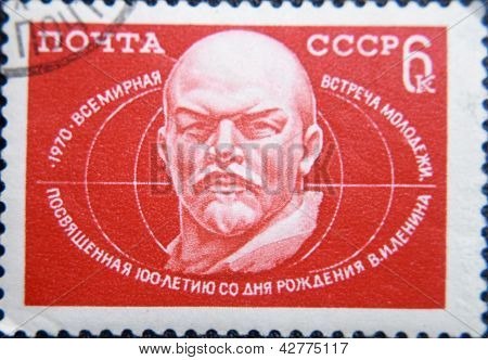RUSSIA - CIRCA 1970: stamp printed by USSR shows portrait of socialist lider Lenin